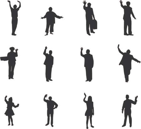 farewell: silhouettes with farewell and welcome gesture