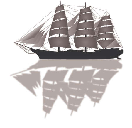 sailing ship illustration Vector