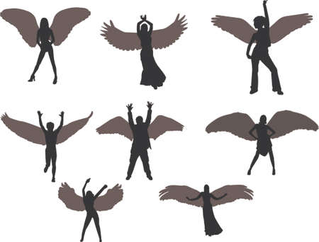 feather vector: angels silhouettes Illustration