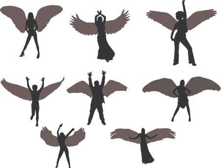 silueta de angel: Angels siluetas