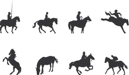 horse rider silhouettes Illustration