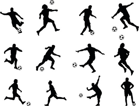 soccer silhouettes Illustration