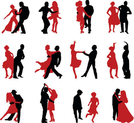 dancing couples illustration Stock Vector - 964398
