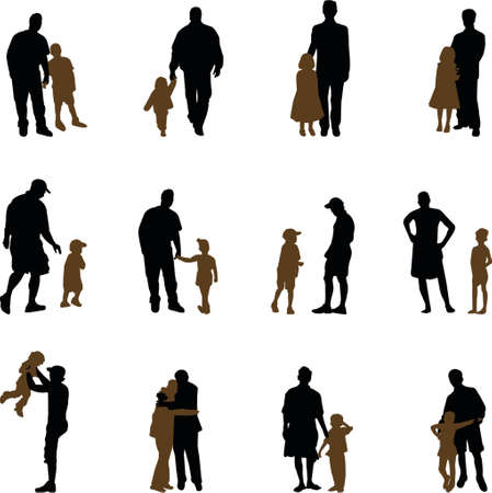 couple embrace: father with children silhouettes