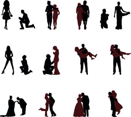 inginocchiarsi: romantico sagome Vettoriali