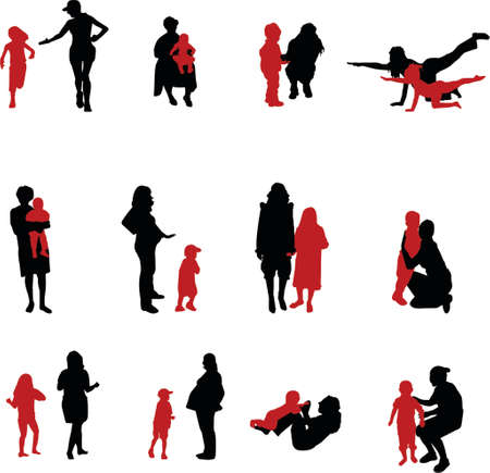 upbringing: mother and children silhouettes