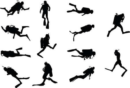 snorkel: duikers silhouetten Stock Illustratie
