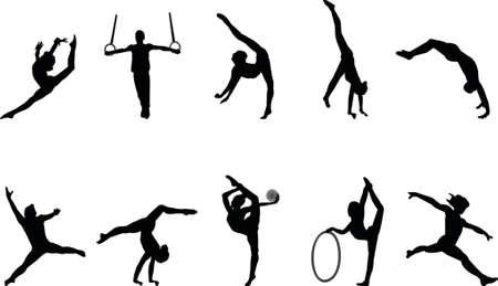salti: ginnastica sagome Vettoriali