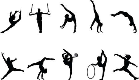 jumps: gymnastics silhouettes
