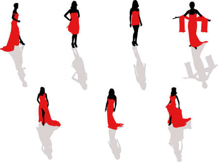 teenage girl dress: lady in the red dress silhouettes Illustration