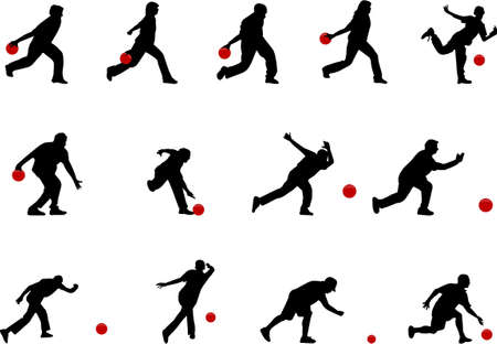 bowling: siluetas del bowling Vectores