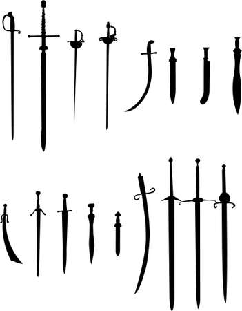 sword and knife illustrations Vector