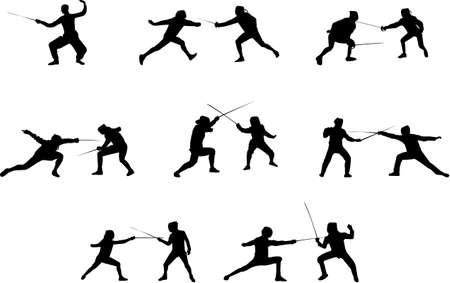 fencing: fencing silhouettes Illustration