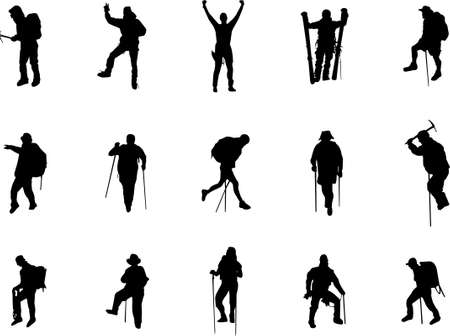hiking mountain: mountain climbing and hiking silhouettes