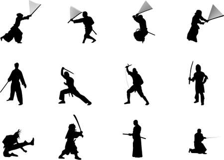 sidekick: martial arts and weapons silhouettes