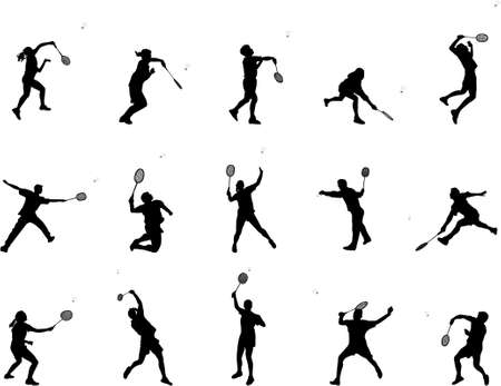 raquet: badminton silhouettes