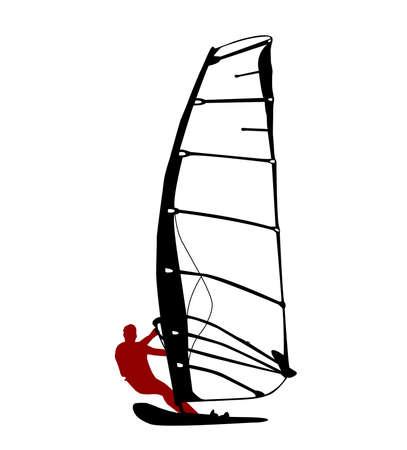 windsurf: windsurfing silhouette