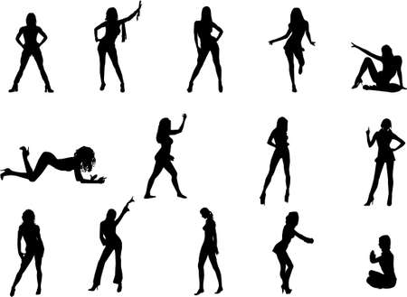 sexy woman silhouette: girls silhouettes Illustration