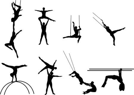 acrobats silhouettes Vector