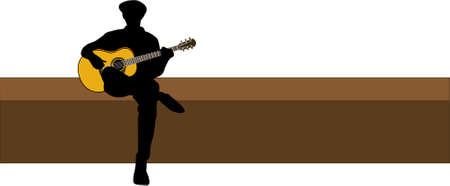 acoustic: guitar player Illustration