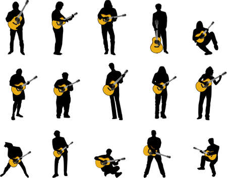 rock guitar: guitar player silhouettes