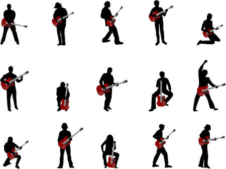 bass player: rock guitar player silhouettes Illustration