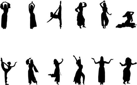 belly dance: exotic eastern dance silhouettes Illustration