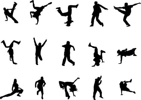 hip hop dance silhouettes Stock Vector - 2319705