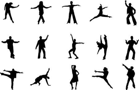 akrobatik: Tanzen Silhouetten Illustration