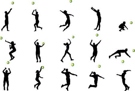 serve: volleball silhouettes Illustration
