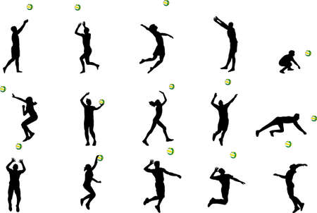 volleyball serve: volleball siluetas Vectores