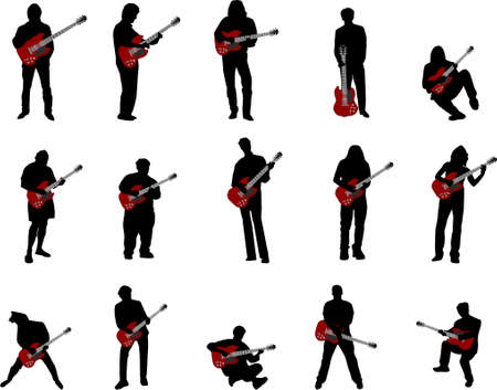 bass player: rock guitar silhouettes