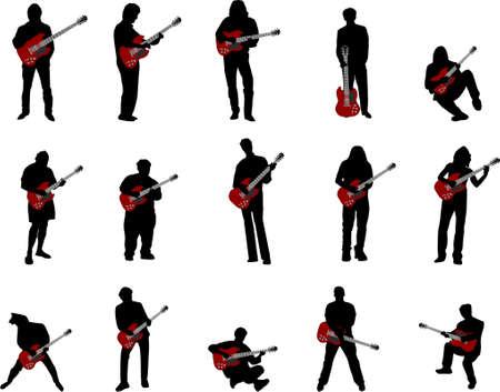 guy playing guitar: rock guitar silhouettes