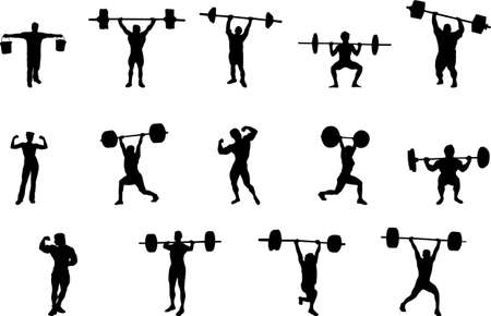 масса: weight lifting silhouettes