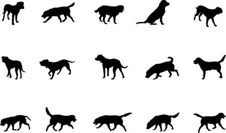 foso: perros silueta  Vectores