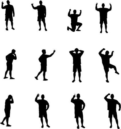 man expressions silhouettes Stock Vector - 2626571
