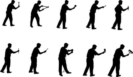 man with tools silhouettes Vector