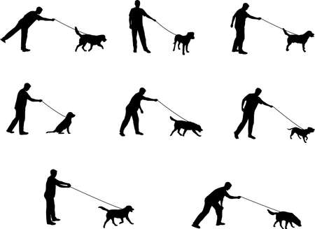 walking the dog silhouettes Vector