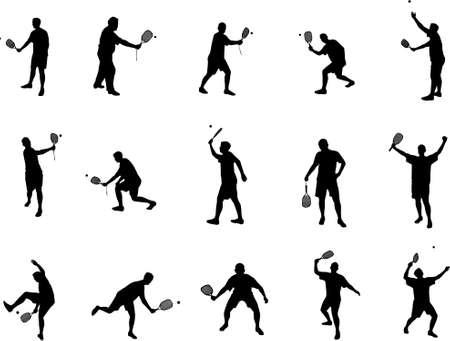 squash: squash and tennis silhouettes