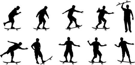 ni�o en patines: patinar bordo de siluetas