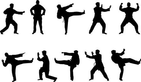 sidekick: martial arts silhouettes