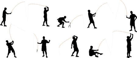 fishing bait: fishing silhouettes Illustration