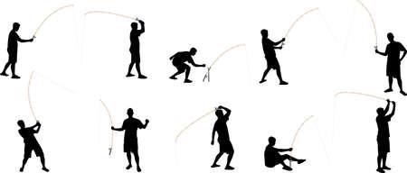 hombre pescando: pesca siluetas