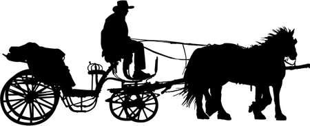 carriage: trasporto silhouette  Vettoriali