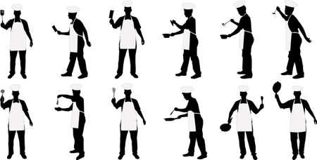 jasschort: keuken chef silhouetten