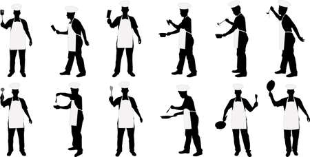 kitchen chief silhouettes Vector