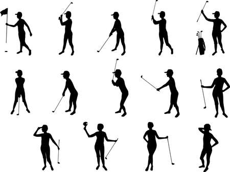 girl and golf silhouettes Vector
