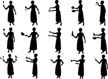 girl cooking silhouettes Vector