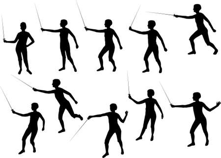 cross match: fencing girl silhouettes