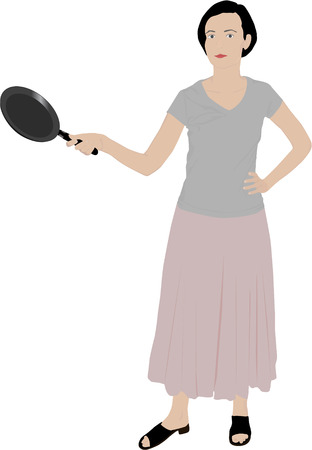 scramble: beautiful girl illustration holding a kitchen pan